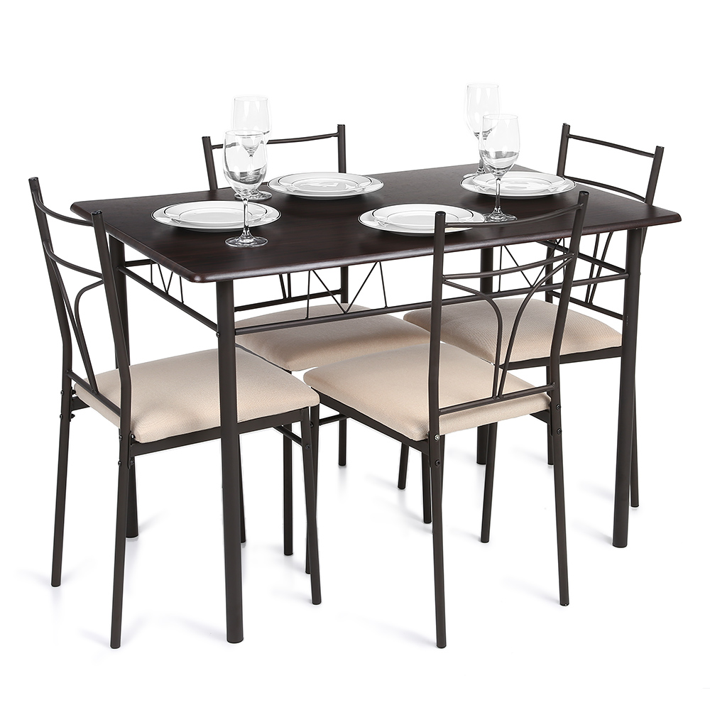 brown iKayaa Modern 5PCS Metal Frame Padded Dining Table Chairs ...