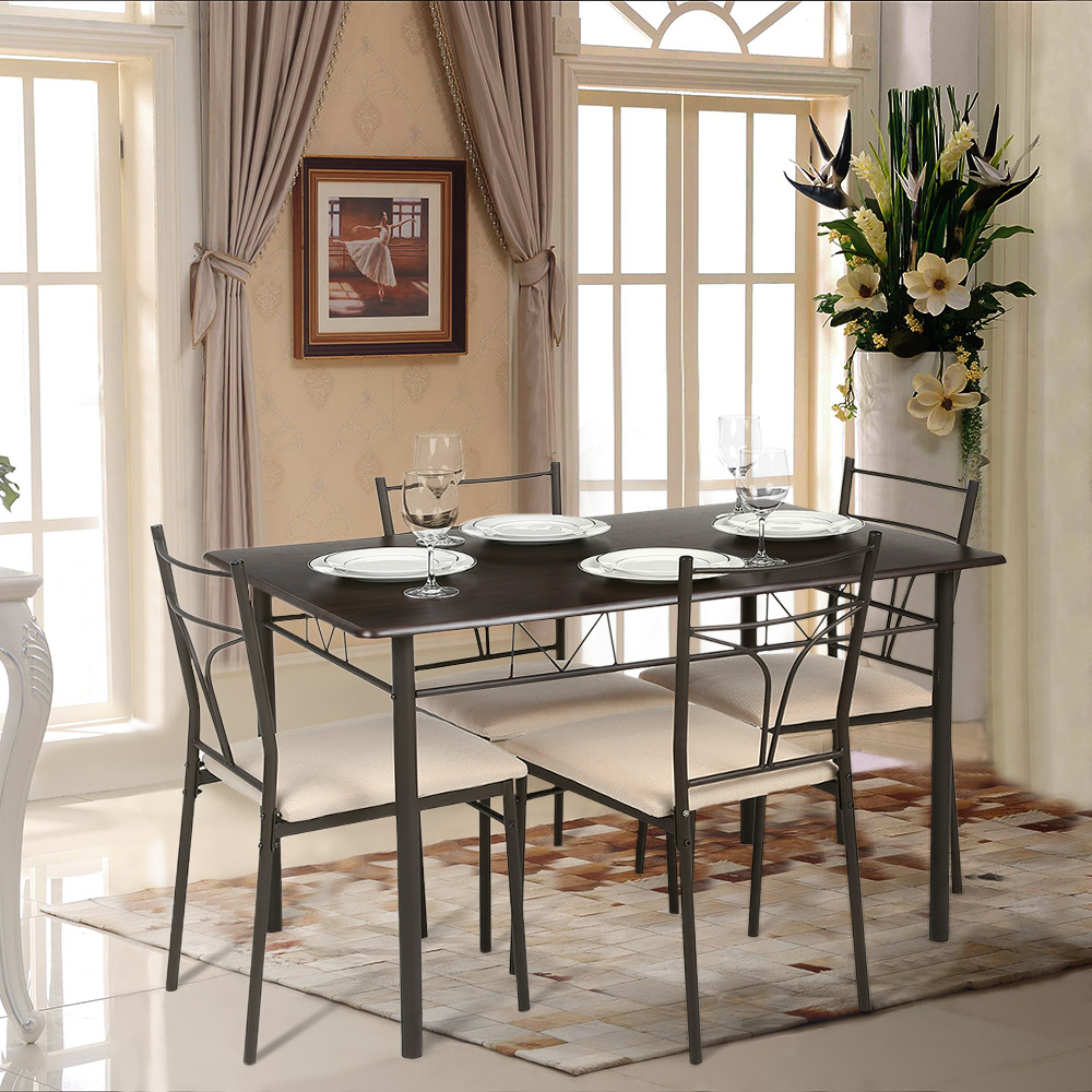 IKayaa Modern 5PCS Metal Frame Padded Dining Table Chairs Set Part 93