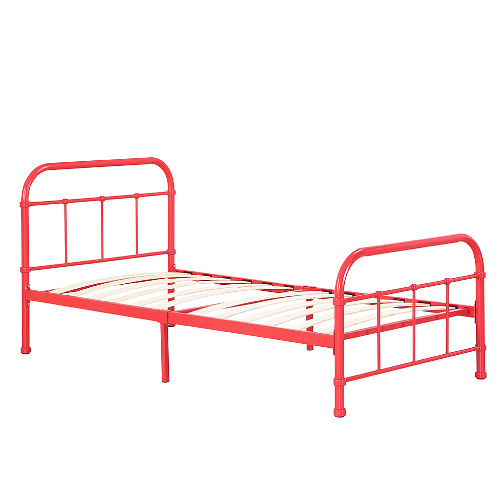 Red ikayaa metal platform twin size bedroom bed frame Metal bed frame twin