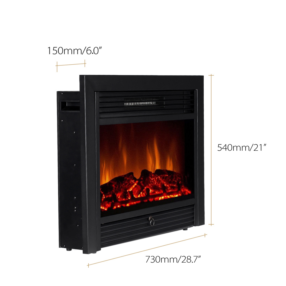 decdeal embedded electric fireplace insert heater led glass view