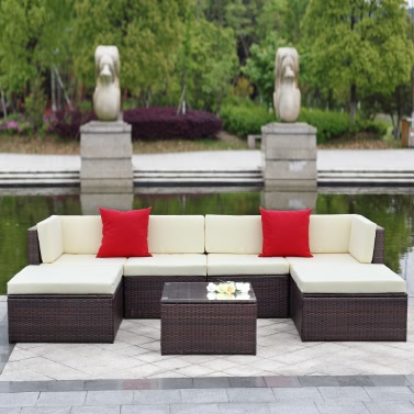 45 ikayaa 7pcs outdoor patio garden rattan wicker sectional sofa set brown