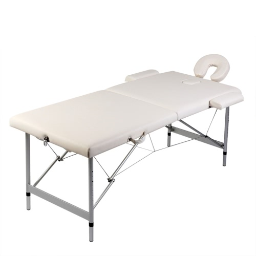 Folding Cot Massage Cream White Zone 2 with Aluminum Frame (TOMTOP) Arvada Search and sale