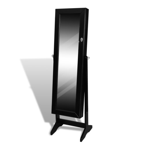 Black Free Standing Jewelry Cabinet with Mirror