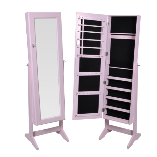 Pink Free Standing Jewelry Cabinet with Mirror