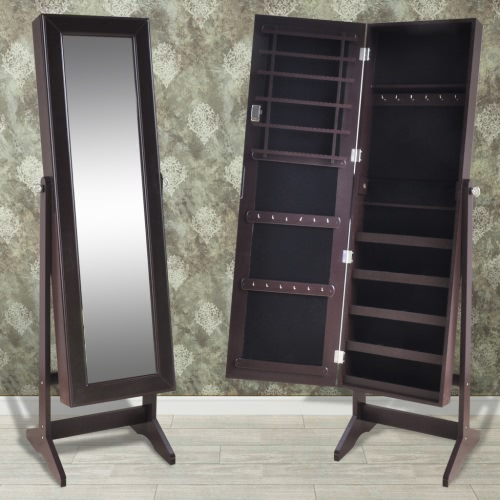 Brown Free Standing Jewelry Cabinet with Mirror