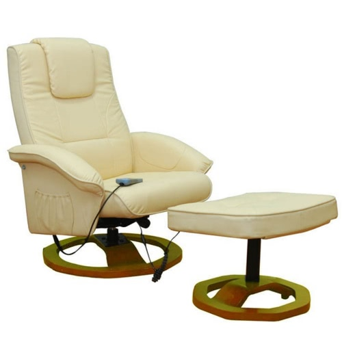 Electric Artificial Leather Massage Chair Cream Footstool 9410 Product Photo