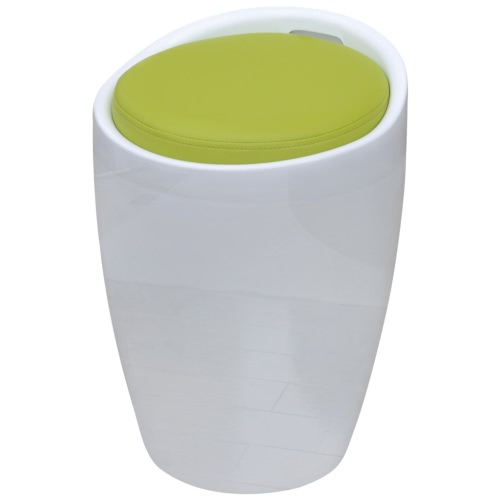 Stool ABS Round White with Green Removable Seat Apple