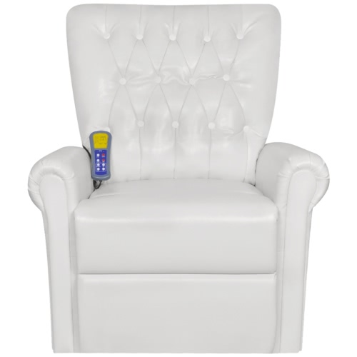 White Electric Artificial Leather Recliner Massage Chair 9410 Product Photo