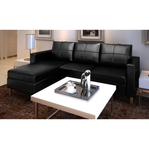 Black 3 seater l shaped artificial leather sectional sofa - Sofa piel vintage ...