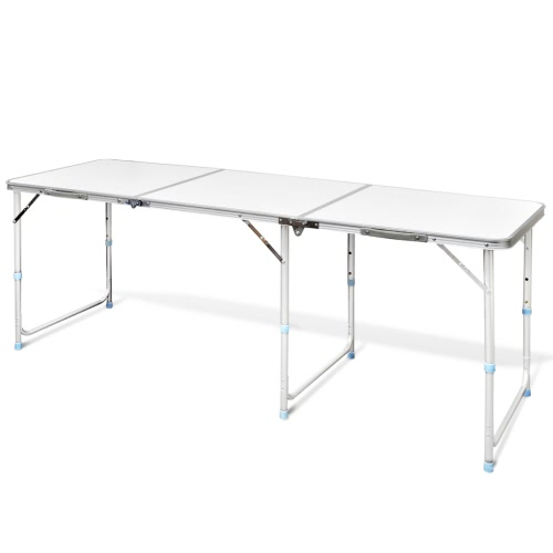 Camping table foldable height adjustable aluminum 180 x 60 cm