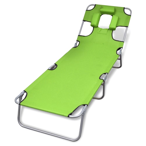 Apple Green Folding sunlounger with pillows and adjustable backrest