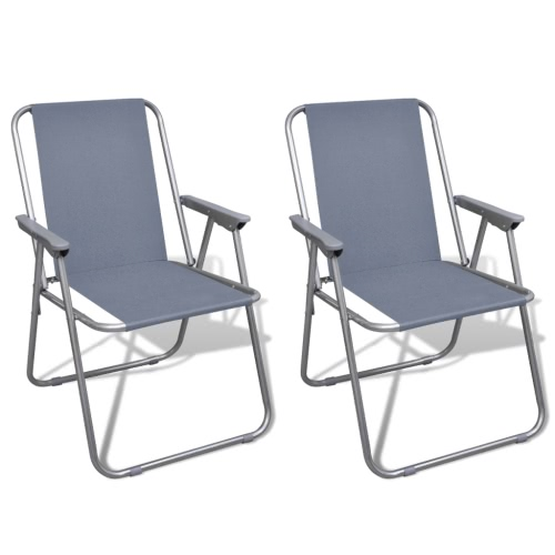 Set of 2 Folding Chairs Gray for Camping Open Air