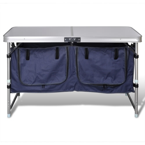 Folding camping cupboard with aluminum frame