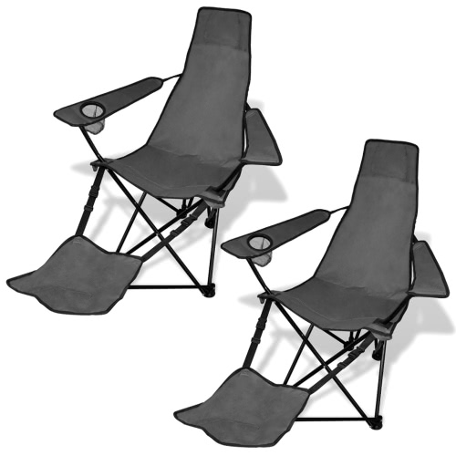 2 pcs Foldable Camping Chair with Footrest Grey