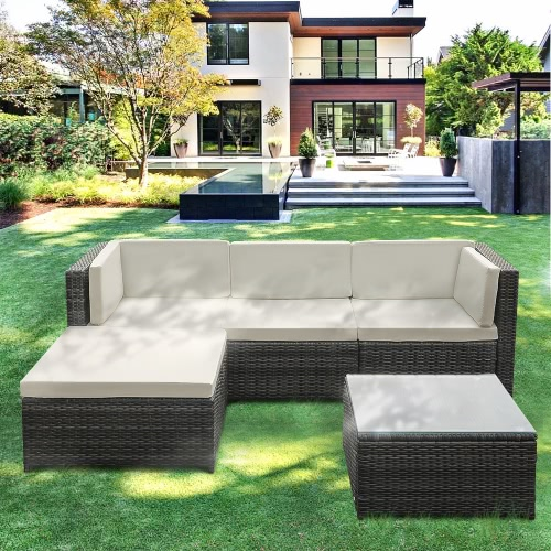 Gray Ikayaa 5pcs Pe Rattan Wicker Patio Garden Furniture