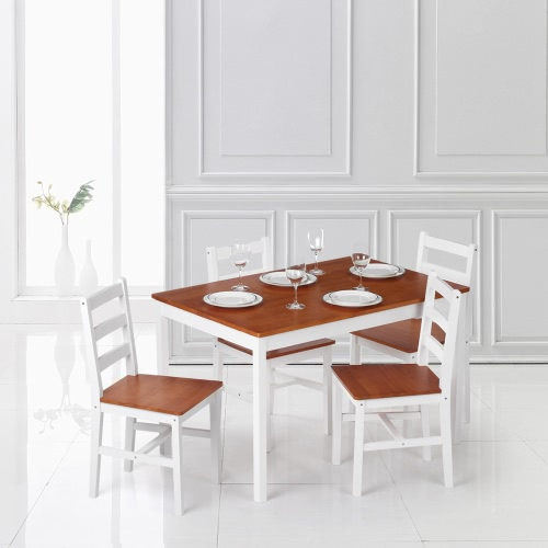 iKayaa Pine 5-Piece Kitchen Dining Table and Chairs Set (White or Brown)
