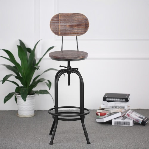 Kitchen Stools Malta: Wood IKayaa Bar Stool Height Adjustable Swivel Kitchen